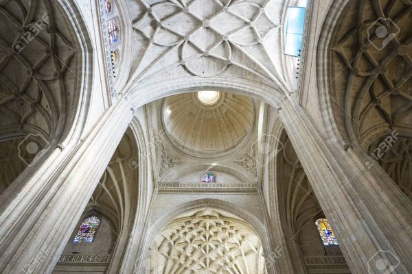 Cupola, Interior of gothic cathedral of Segovia in Spain